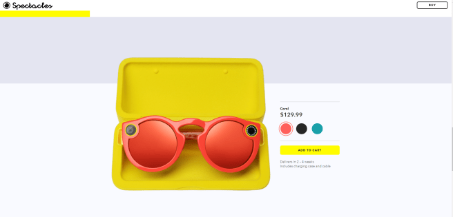 A screenshot of Snapchat's coral spectacles.