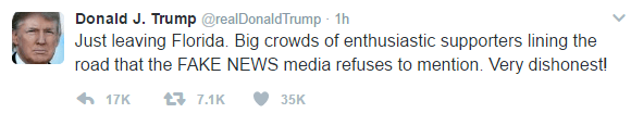 Text of Trump's tweet is as follows: Just leaving Florida. Big crowds of enthusiastic supporters lining the road that the FAKE NEWS media refuses to mention. Very dishonest!