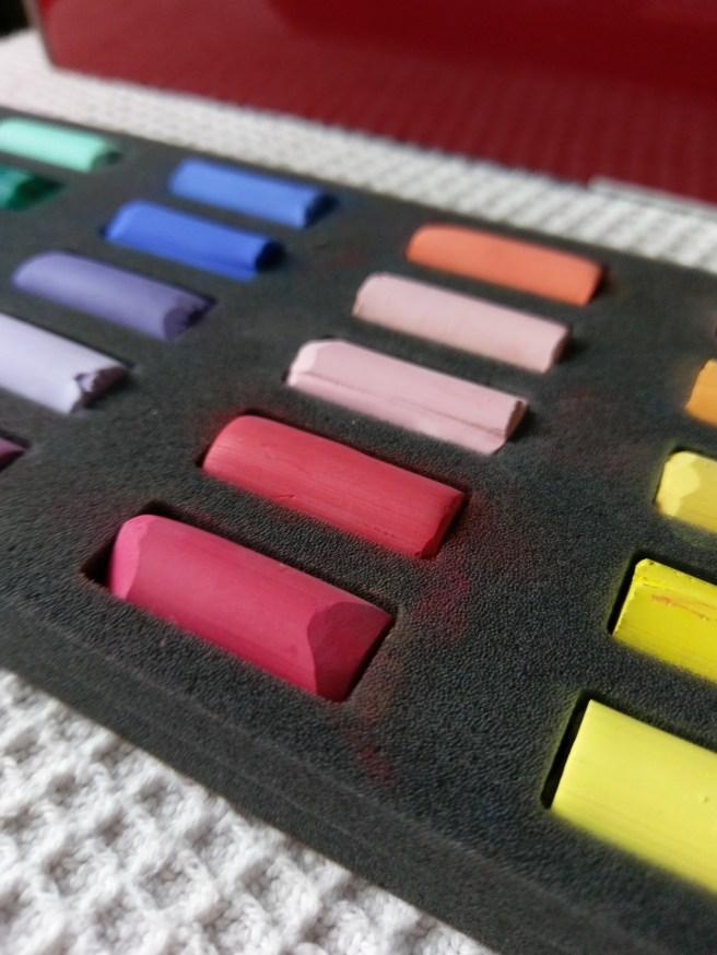 Dick Blick's brand of soft pastels. (Half stick)