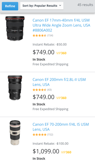 The Canon 200mm f/2.8 at Adorama
