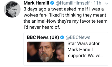 """3 days ago a tweet asked me if I was a wolves fan-I""liked""it thinking they meant the animal-Now they're my favorite team I'd never heard of."""