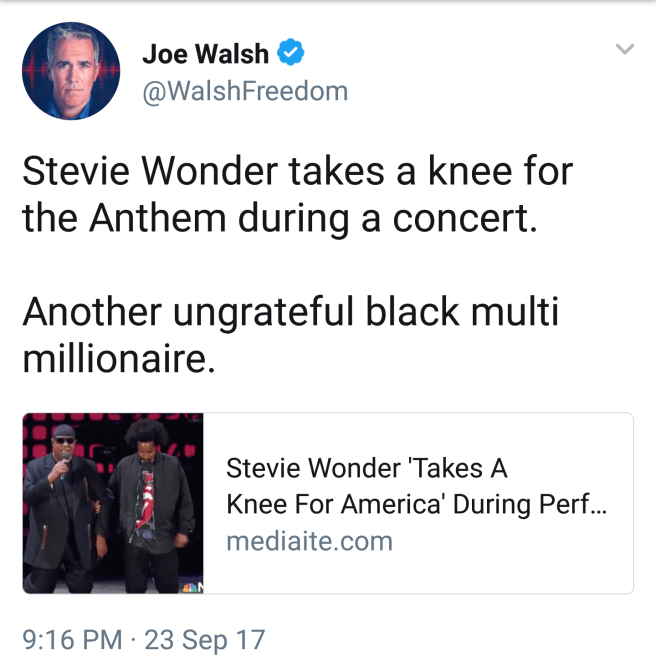 """Stevie Wonder takes a knee for the Anthem during a concert. Another ungrateful black multi millionaire."""