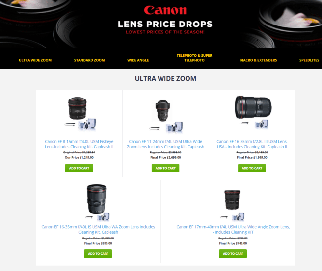 "Source: Adorama marketing email landing page showing ""price drops"""