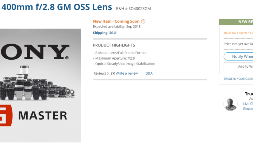 Sony's 400mm f/2.8 Price Tag