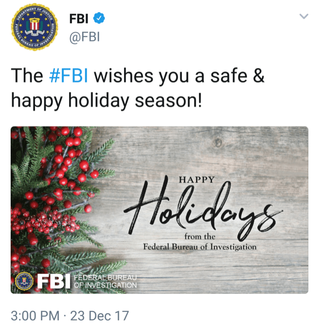 """The #FBI wishes you a safe & happy holiday season!"""