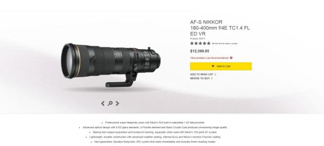 Nikon's new 180 - 400mm lens