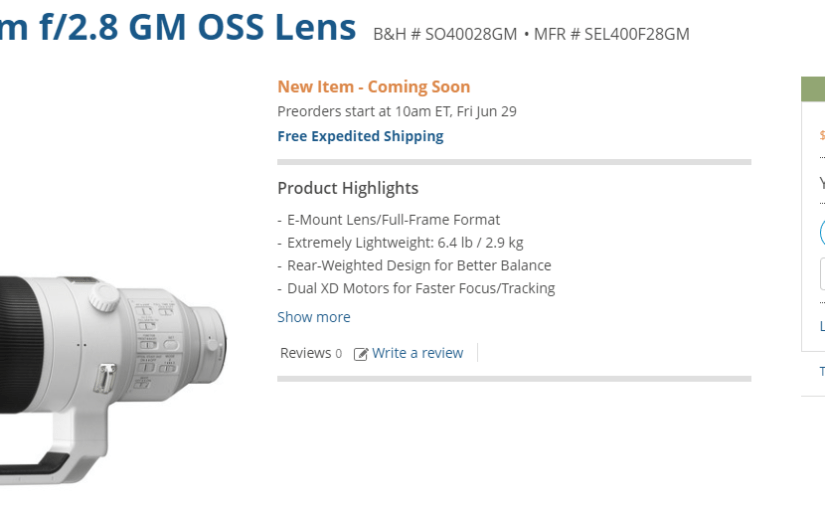 The Sony 400mm f/2.8 Actual Price Tag
