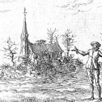 Man stands on the river banks from Dirk Willems image from Martyr's mirror
