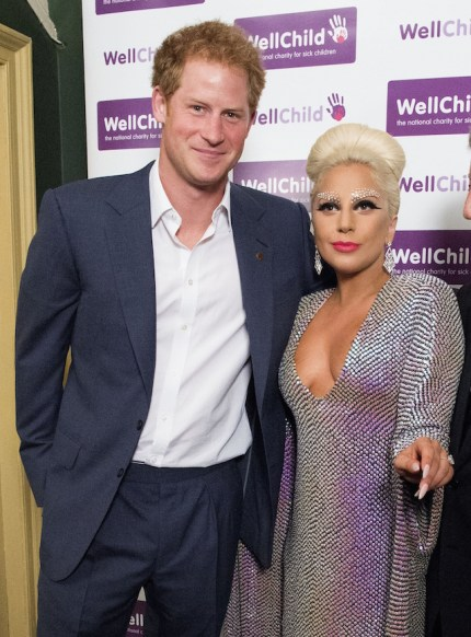 LONDON, ENGLAND - JUNE 08: Prince Harry meets Lady Gaga prior to the Gala Concert in aid of WellChild at Royal Albert Hall on June 8, 2015 in London, England. (Photo by Alan Davidson - WPA Pool / Getty Images)
