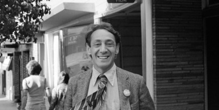 black and white photo of Harvey Milk
