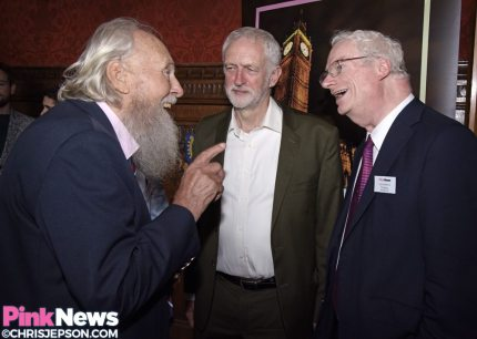 George Montague, Jeremy Corbyn and Lord Smith in conversation