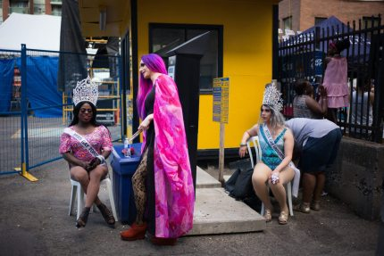 TORONTO, CANADA - JULY 3:  Three drag queens rest along Church Street, during the annual Gay Pride Festival on July 3, 2016 in Toronto, Ontario, Canada. Justin Trudeau made history as the first Canadian prime minister to march in the Pride parade.  (Photo by Ian Willms/Getty Images)