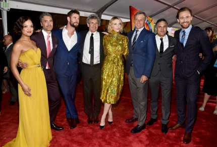 """HOLLYWOOD, CA - OCTOBER 10:  (L-R) Actor Tessa Thompson, Director Taika Waititi, Actor Chris Hemsworth, Chairman, The Walt Disney Studios, Alan Horn, Actor Cate Blanchett, The Walt Disney Company Chairman and CEO, Bob Iger, Actors Mark Ruffalo and Tom Hiddleston at The World Premiere of Marvel Studios' """"Thor: Ragnarok"""" at the El Capitan Theatre on October 10, 2017 in Hollywood, California.  (Photo by Alberto E. Rodriguez/Getty Images for Disney)"""