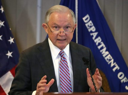 """FALLS CHURCH, VA - OCTOBER 12: Attorney General Jeff Sessions delivers a speech titled """"the crisis facing our asylum system."""" at the Executive Office for Immigration Review, on October 12, 2017 in Falls Church, Virginia. (Photo by Mark Wilson/Getty Images)"""