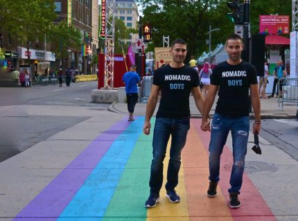 The Rainbow Crossing in Montreal (Nomadic Boys)