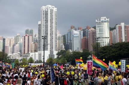 A LGBT parade takes place in Hong Kong.