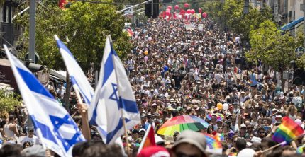 Participants take part in the annual Gay Pride parade in the Israeli city of Tel Aviv, on June 9, 2017.  Tens of thousands of revellers from Israel and abroad packed the streets of Tel Aviv for the city's annual Gay Pride march, billed as the Middle East's biggest. / AFP PHOTO / JACK GUEZ        (Photo credit should read JACK GUEZ/AFP/Getty Images)
