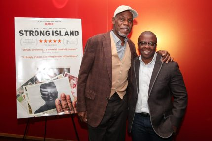 """SAN FRANCISCO, CA - NOVEMBER 14:  Executive Producer Danny Glover and Director Yance Ford pose for a photo at a special screening of """"Strong Island"""" at Landmark Embarcadero on November 14, 2017 in San Francisco, California.  (Photo by Kelly Sullivan/Getty Images for Netflix)"""