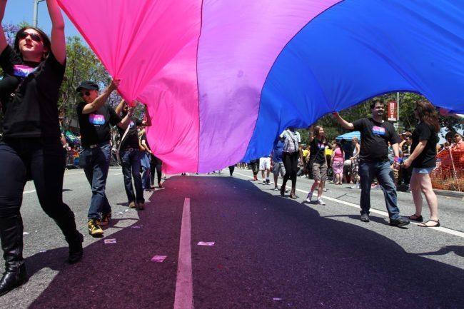 WEST HOLLYWOOD, CA - 9 DE JUNIO: La gente que marcha con anBi, una organización bisexual, lleva una bandera bisexual en el 43.o desfile del orgullo de LA el 9 de junio de 2013 en Hollywood del oeste, California. Se espera que más de 400,000 personas asistan al desfile en apoyo de las comunidades de lesbianas, gays, bisexuales y transexuales. (Foto por David McNew / Getty Images)