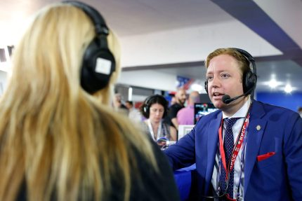"CLEVELAND, OH - JULY 20: Gregory Angelo, President of the Log Cabin Republicans, is interviewed by Julie Mason, while appearing on ""The Press Pool"" at Quicken Loans Arena on July 20, 2016 in Cleveland, Ohio. (Photo by Kirk Irwin/Getty Images for SiriusXM)"