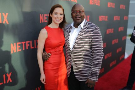 """NORTH HOLLYWOOD, CA - MAY 04: (L-R) Ellie Kemper and Tituss Burgess attend Netflix's """"Unbreakable Kimmy Schmidt"""" for your consideration event red carpet at Saban Media Center on May 4, 2017 in North Hollywood, California. (Photo by Neilson Barnard/Getty Images)"""