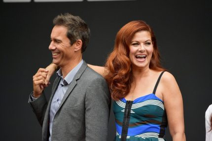 """LOS ANGELES, CA - AUGUST 02: Actors Eric McCormack and Debra Messing attend the """"Will & Grace"""" ribbon cutting Ceremony on August 2, 2017 in Los Angeles, California. (Photo by Matt Winkelmeyer/Getty Images)"""