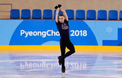 PYEONGCHANG-GUN, SOUTH KOREA - FEBRUARY 07: Adam Rippon of The United States trains during Figure Skating practice ahead of the PyeongChang 2018 Winter Olympic Games at Gangneung Ice Arena on February 7, 2018 in Pyeongchang-gun, South Korea. (Photo by Jamie Squire/Getty Images)