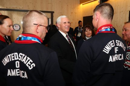 PYEONGCHANG-GUN, SOUTH KOREA - FEBRUARY 09: Vice President Mike Pence and wife Karen visit with guests at the USA House at the PyeongChang 2018 Winter Olympic Games on February 9, 2018 in Pyeongchang-gun, South Korea. (Photo by Joe Scarnici/Getty Images for USOC)