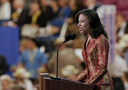 NEW YORK, United States: Erika Harold, Miss America 2003, addresses delegates at the Republican National Convention at Madison Square Garden in New York City 31 August 2004.US President George W. Bush is expected to accept his nomination for a second term in office during the convention. Some 50,000 Republican delegates, guests and journalists are expected to attend the four-day event. AFP PHOTO/JEFF HAYNES (Photo credit should read JEFF HAYNES/AFP/Getty Images)