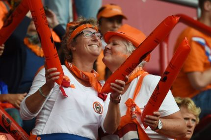 Netherlands' supporters react prior to the UEFA Womens Euro 2017 football tournament semi-final match between Netherlands and England at the FC Twente Stadium, in Enschede on August 3, 2017. / AFP PHOTO / Daniel MIHAILESCU (Photo credit should read DANIEL MIHAILESCU/AFP/Getty Images)