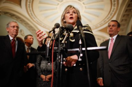 WASHINGTON, DC - DECEMBER 01:  Oklahoma Governor-elect Mary Fallin (C) talks to reporters after meeting with House Minority Leader John Boehner (R-OH) (R) and Senate Minority Leader Mitch McConnell (R-KY) (L) and fellow Republican governors-elect at the U.S. Capitol December 1, 2010 in Washington, DC.  The GOP leaders talked about ways to create jobs, cut spending and ways to repeal the health care law.  (Photo by Chip Somodevilla/Getty Images)