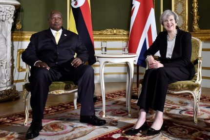 LONDON, UNITED KINGDOM - MAY 11: Prime Minister Theresa May meets President Yoweri Museveni of Uganda during the London Conference on Somalia at Lancaster House on May 11, 2017 in London, England. (Photo by Hannah McKay - WPA Pool/Getty Images)