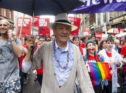Sir Ian McKellen at Pride London.