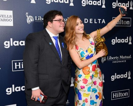 NEW YORK, NY - MAY 06: Presenter Gavin Grimm and AnnaSophia Robb pose for a selfie at the 28th Annual GLAAD Media Awards at The Hilton Midtown on May 6, 2017 in New York City. (Photo by Dia Dipasupil/Getty Images for GLAAD)