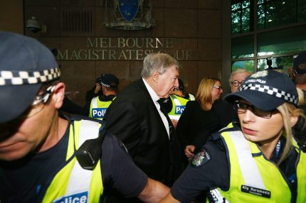 MELBOURNE, AUSTRALIA - MAY 01: Cardinal George Pell arrives at Melbourne Magistrates' Court on May 1, 2018 in Melbourne, Australia. Cardinal Pell was charged on summons by Victoria Police on 29 June 2017 over multiple allegations of sexual assault. Cardinal Pell is Australia's highest ranking Catholic and the third most senior Catholic at the Vatican, where he was responsible for the church's finances. Cardinal Pell has leave from his Vatican position while he defends the charges. (Photo by Michael Dodge/Getty Images)