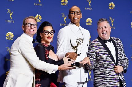 LOS ANGELES, CA - SEPTEMBER 17: Outstanding Reality-Competition Program winners Carson Kressley, Michelle Visage, RuPaul, and Ross Mathews pose in the press room during the 70th Emmy Awards at Microsoft Theater on September 17, 2018 in Los Angeles, California. They will comprise the regular judging panel on RuPaul's Drag Race: All Stars 4 (Photo by Frazer Harrison/Getty Images)