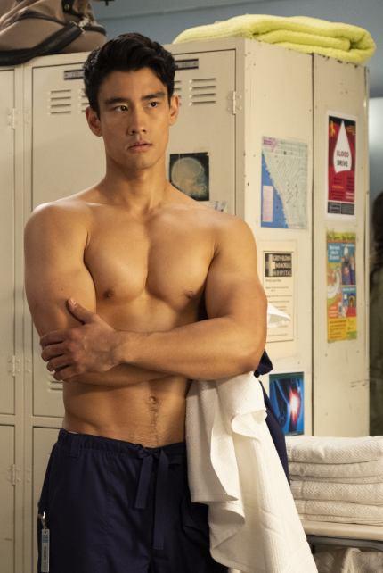 Grey's Anatomy's Nico Kim who is having an on-screen romance with Levi Schmitt, played by Jake Borelli