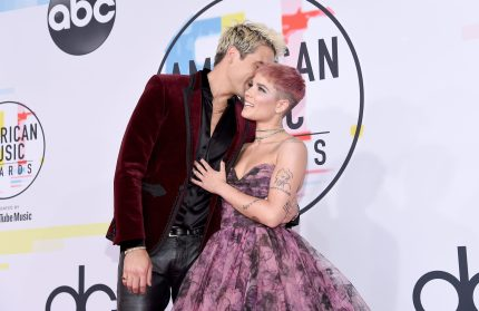 LOS ANGELES, CA - OCTOBER 09: G-Eazy (L) and Halsey attends the 2018 American Music Awards at Microsoft Theater on October 9, 2018 in Los Angeles, California. (Photo by Kevork Djansezian/Getty Images For dcp)