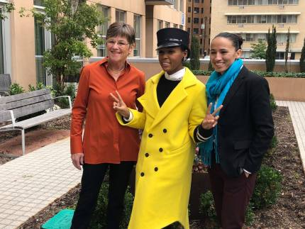 Candidate for governor Laura Kelly and candidate for Congress Sharice Davids pose with Janelle Monae ahead of the midterm elections.