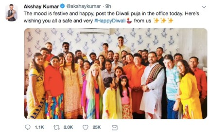 Bollywood star Akshay Kumar marks first the first Diwali since gay sex was legalised in India.
