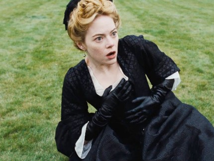 Emma Stone lies, shocked, on the ground in new lesbian film The Favourite