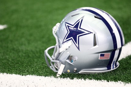 A helmet for the Dallas Cowboys similar to that Jeff Rohrer wore in the 1980s qas a linebacker for the team.