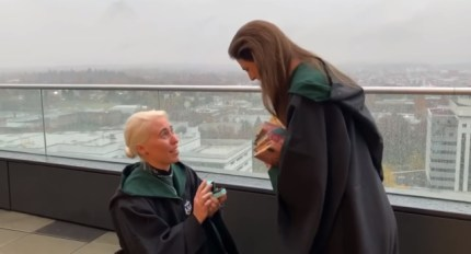 A lesbian couple from Portland get engaged in a Harry Potter themed proposal