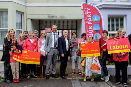 Lloyd Russell-Moyle with Jeremy Corbyn and Labour activists