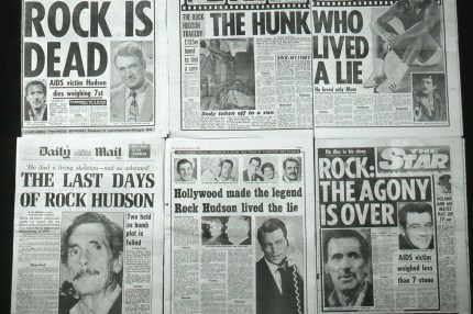 Tabloids on the death of Rock Hudson, re-published for World AIDS Day