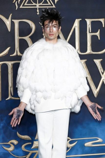 Ezra Miller attends the UK Premiere of Fantastic Beasts: The Crimes Of Grindelwald