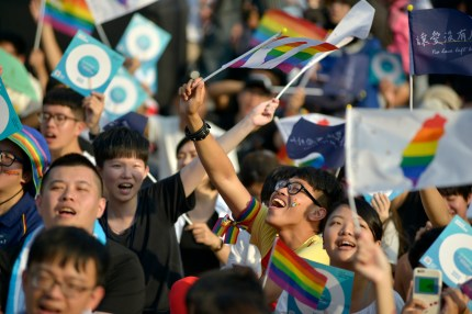 People take part in a rally in support of same-sex marriage in Taiwan
