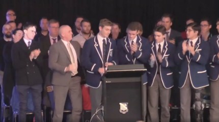 St. Ignatius' College student Finn Standard gets a standing ovation after he comes out as gay