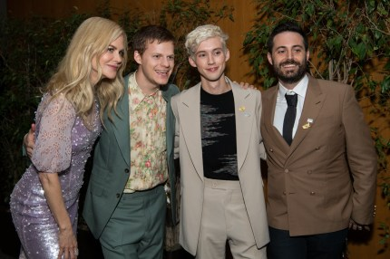 Troye Sivan with Boy Erased co-stars Nicole Kidman and Lucas Hedges, and author Garrard Conley