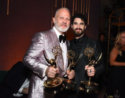 Ryan Murphy and Darren Criss attend FOX Broadcasting Company, FX, National Geographic and 20th Century Fox Television 2018 Emmy Nominee Party at Vibiana on September 17, 2018 in Los Angeles, California.